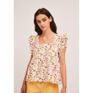 COMPANIA FANTASTICA A-LINE TOP WITH SQUARE NECK AND CACTUS PRINT SS21PIC12