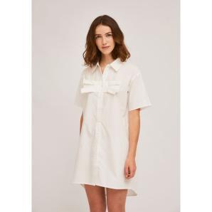 COMPANIA FANTASTICA WHITE SHIRT DRESS WITH BUST BOW SS21HAN31