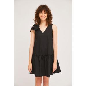 COMPANIA FANTASTICA SHORT BLACK DRESS WITH SHOULDER BOW SS21HAN52