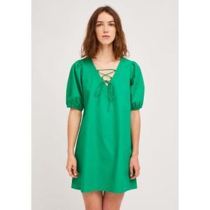 COMPANIA FANTASTICA GREEN A-LINE DRESS WITH V-NECK AND DRAWSTRING SS21HAN46