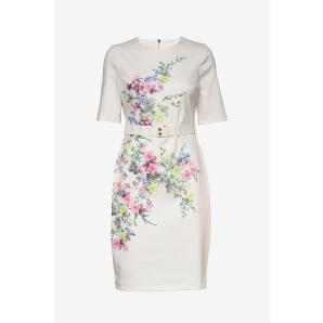 Ted Baker bodycon midi dress in woodland print in ivory