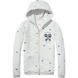 Scotch & Soda Girl's Zip Through Hooded Sweater with Allovers & Chest Artwork Sweatshirt