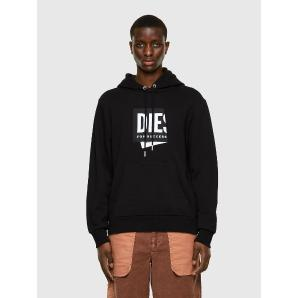 DIESEL Hoodie with folded jacquard label A02449-0TAZM