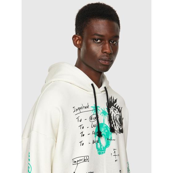DIESEL S-UMMER-B3 Green Label hoodie with scribbled motifs A03006-2
