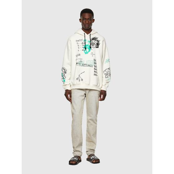 DIESEL S-UMMER-B3 Green Label hoodie with scribbled motifs A03006-3