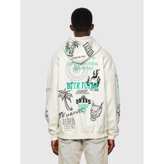 DIESEL S-UMMER-B3 Green Label hoodie with scribbled motifs A03006-1