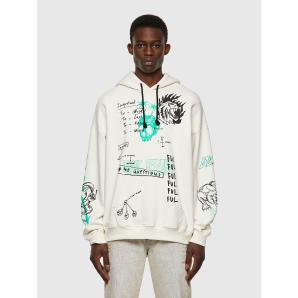 DIESEL S-UMMER-B3 Green Label hoodie with scribbled motifs A03006