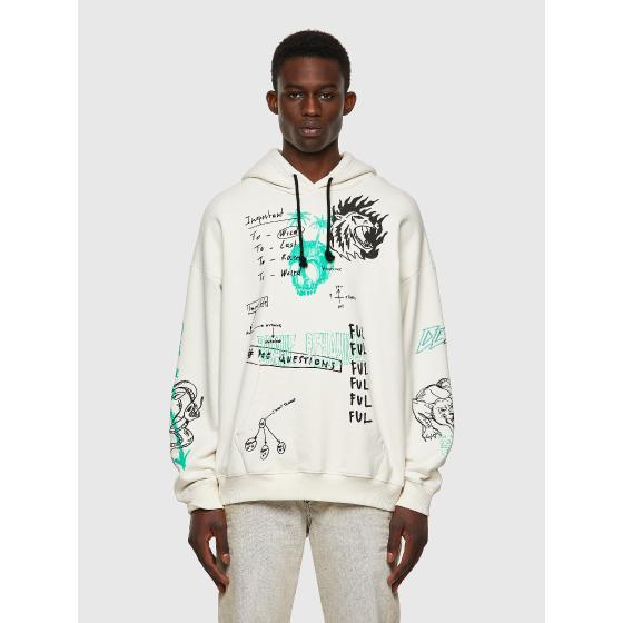 DIESEL S-UMMER-B3 Green Label hoodie with scribbled motifs A03006-0