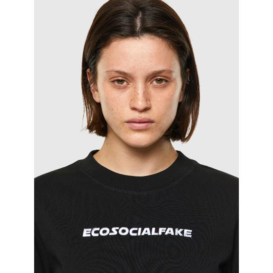 DIESEL T-RECROP Green Label T-shirt with embroidery A0254550-2