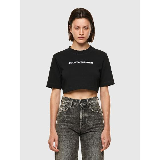 DIESEL T-RECROP Green Label T-shirt with embroidery A0254550-0