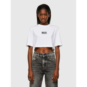 DIESEL T-RECROP-ECOSMALLOGO Green Label cropped T-shirt with logo A04889
