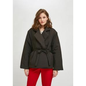 Compañía Fantástica BLACK CROPPED PADDED COAT WITH LAPEL COLLAR AND BELT