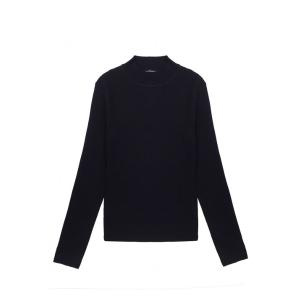 COMPANIA FANTASTICA BLACK FITTED RIBBED KNIT JUMPER WITH HIGH NECK FA21SHA01