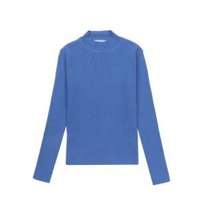 COMPANIA FANTASTICA BLUE FITTED RIBBED KNIT JUMPER WITH HIGH NECK FA21SHA03