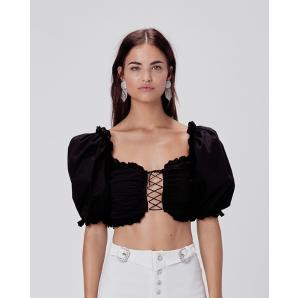FOR LOVE & LEMONS Sage Lace Up Crop Top