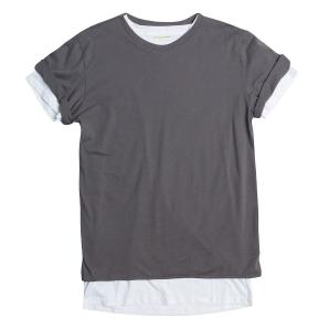 Crew Neck Long Line Double Layer Tee The Project Garments