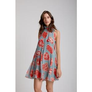 MOUTAKI Roses Dress Tall Neck