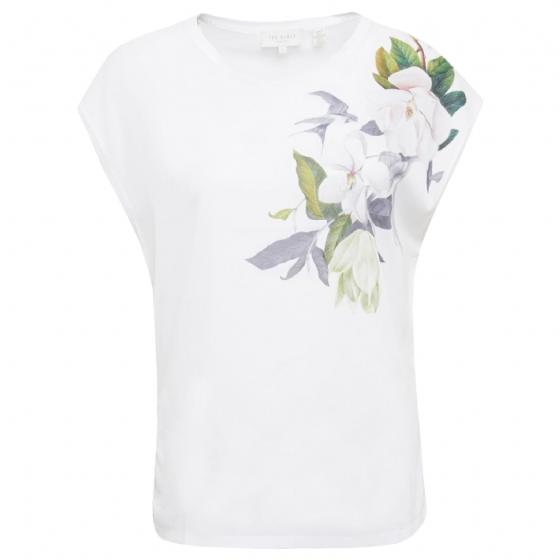 Ted baker sellie opal printed woven front tee 159076-0