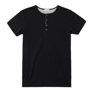 Grandad Collar Organic Cotton T-shirt Black The Project Garments