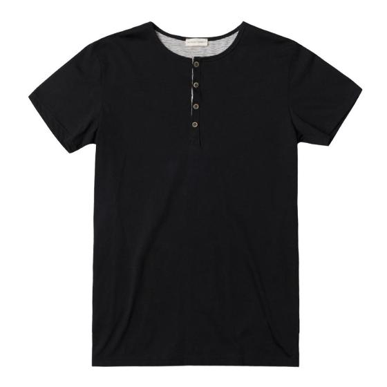 Grandad Collar Organic Cotton T-shirt Black The Project Garments-0