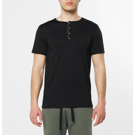 Grandad Collar Organic Cotton T-shirt Black The Project Garments-1