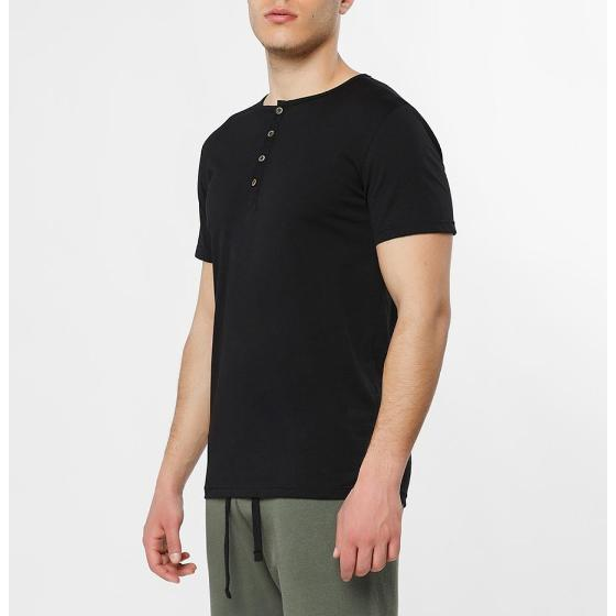 Grandad Collar Organic Cotton T-shirt Black The Project Garments-2