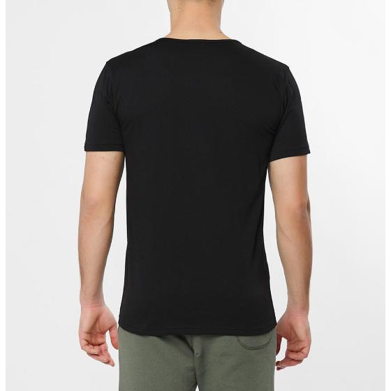 Grandad Collar Organic Cotton T-shirt Black The Project Garments-3