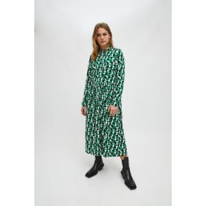 Compañía Fantástica GREEN GEOMETRIC PRINT MIDI SHIRT DRESS