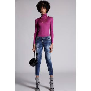 DSQUARED2 Dark Leather Patches Wash Jennifer Cropped Jeans S72LB0431