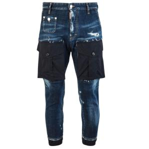 DSQUARED SLIM DISTRESSED PATCH POCKET JEANS S74KB0275