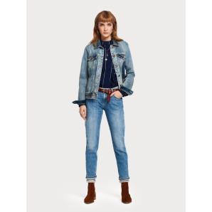 SCOTCH & SODA The Keeper - Turquoise Mid rise slim fit 148168