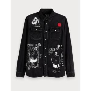 Scotch & soda illustrated denim shirt brutus 151084