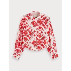 Scotch & soda cropped ruffle detail shirt 156023-0218