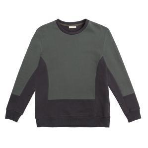Horizontal color block crew neck sweatshirt khaki