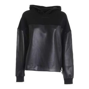 KARL LAGERFELD faux leather fabric mix hoodie 206W1805