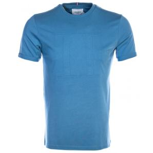 Les Deux embossed encore t-shirt in light blue LDM101053