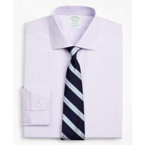 BROOKS BROTHERS Stretch Milano Slim-Fit Dress Shirt, Non-Iron Poplin English Collar Fine Stripe 00158224 55