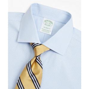Stretch Milano Slim-Fit Dress Shirt, Non-Iron Poplin English Collar Fine Stripe 00158221 46