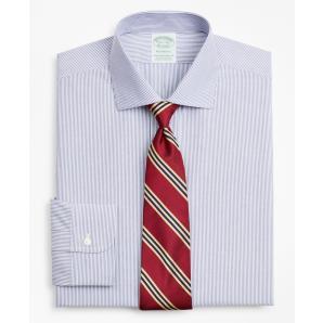 BROOKS BROTHERS Stretch Milano Slim-Fit Dress Shirt, Non-Iron Poplin English Collar Fine Stripe 00158222 42