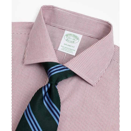BROOKS BROTHERS Stretch Milano Slim-Fit Dress Shirt, Non-Iron Poplin English Collar Fine Stripe 00158225 62-1