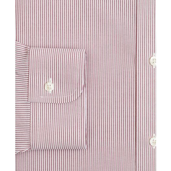 BROOKS BROTHERS Stretch Milano Slim-Fit Dress Shirt, Non-Iron Poplin English Collar Fine Stripe 00158225 62-2