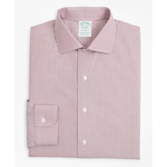 BROOKS BROTHERS Stretch Milano Slim-Fit Dress Shirt, Non-Iron Poplin English Collar Fine Stripe 00158225 62-3