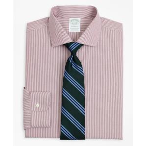 BROOKS BROTHERS Stretch Milano Slim-Fit Dress Shirt, Non-Iron Poplin English Collar Fine Stripe 00158225 62