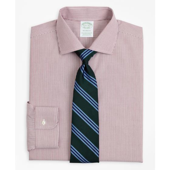 BROOKS BROTHERS Stretch Milano Slim-Fit Dress Shirt, Non-Iron Poplin English Collar Fine Stripe 00158225 62-0