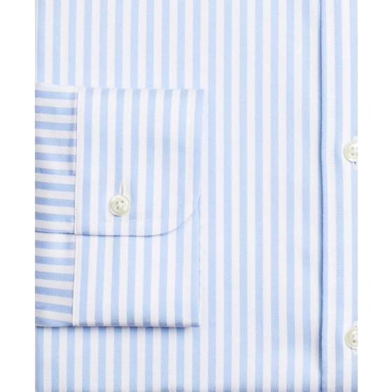BROOKS BROTHERS Stretch Milano Slim-Fit Dress Shirt, Non-Iron Twill English Collar Bold Stripe 00161915-2