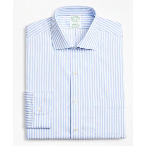 BROOKS BROTHERS Stretch Milano Slim-Fit Dress Shirt, Non-Iron Twill English Collar Bold Stripe 00161915-1