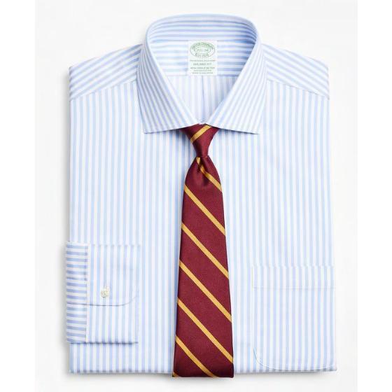 BROOKS BROTHERS Stretch Milano Slim-Fit Dress Shirt, Non-Iron Twill English Collar Bold Stripe 00161915-0