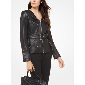 MICHAEL KORS Leather Belted Moto Jacket MF82HWD8FX