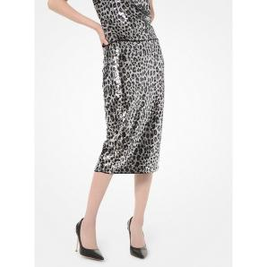 MICHAEL KORS Leopard Sequined Pencil Skirt MF97EZXCJE