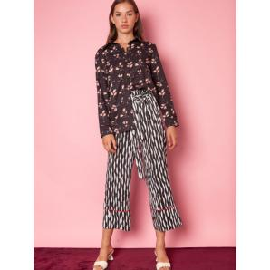 MALLORY THE LABEL Marl Black & White Pants